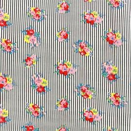 Tissu coton Vintage blossom - noir x 10cm