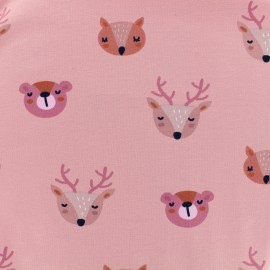 Tissu Oeko-Tex Jersey Bio Dans la forêt - rose x 10cm