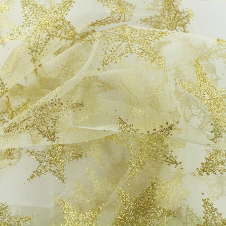 Embroidered organza fabric Christmas Eve - stars x 10cm