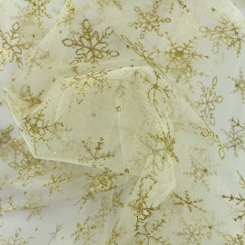 Embroidered organza fabric Christmas Eve - snowflake x 10cm