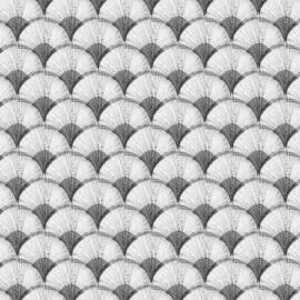 Tissu coton bachette Papyrus - gris/crème x 10cm