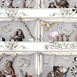 Cotton canvas fabric Tous au théâtre - grey x 65cm