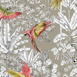 Tissu toile lin Perroquets mania - rose/jaune fond lin x 63cm