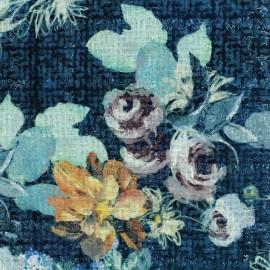 Tissu Tweed Chanel Roses - bleu x 10cm