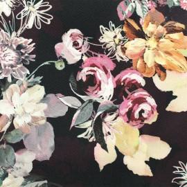 ♥ Coupon tissu 140 cm X 145cm ♥ Gabardine satin Flowers - pourpre