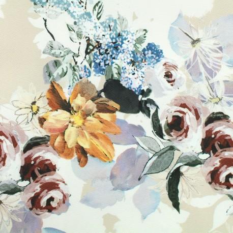 Tissu Gabardine satin Flowers - beige x 10cm