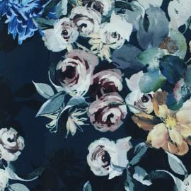 Tissu Gabardine satin Flowers - bleu nuit x 10cm