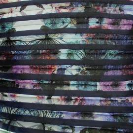 Light pleated crepe fabric Poème - navy x 50cm