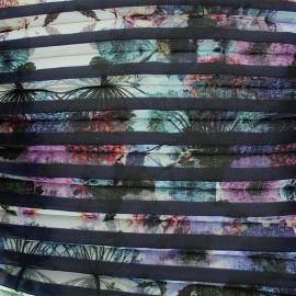 Tissu crêpe léger plissé Poème - marine x 50cm