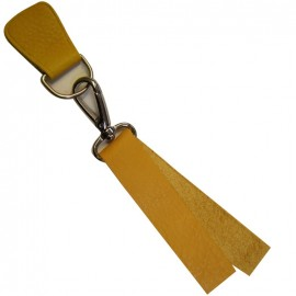 Leather strap with snap hook and D-buckle-strap Mostaza - mustard yellow