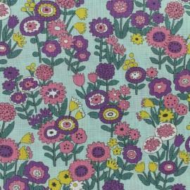 Tissu voile de coton Froufrou Les Floraux - vert d'eau x10cm
