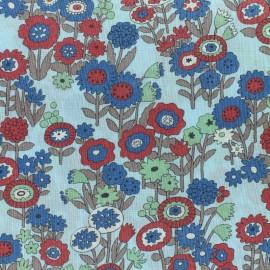 Tissu voile de coton Froufrou Les Floraux - bleu ciel x10cm