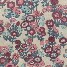 Tissu voile de coton Froufrou Les Floraux - vieux rose x10cm