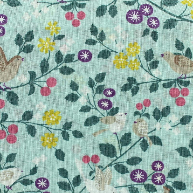 tissu voile de coton froufrou les oiseaux vert d 39 eau x10cm. Black Bedroom Furniture Sets. Home Design Ideas