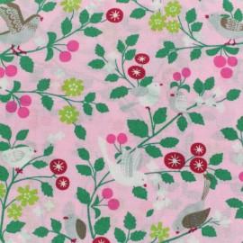 Tissu voile de coton Froufrou Les Oiseaux - rose bonbon  x10cm