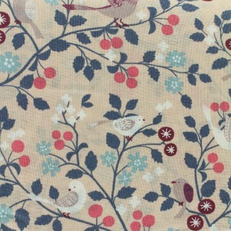 Tissu voile de coton Froufrou Les Oiseaux - vieux rose x10cm