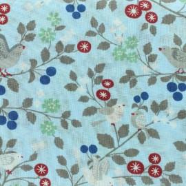 Tissu voile de coton Froufrou Les Oiseaux - bleu ciel x10cm