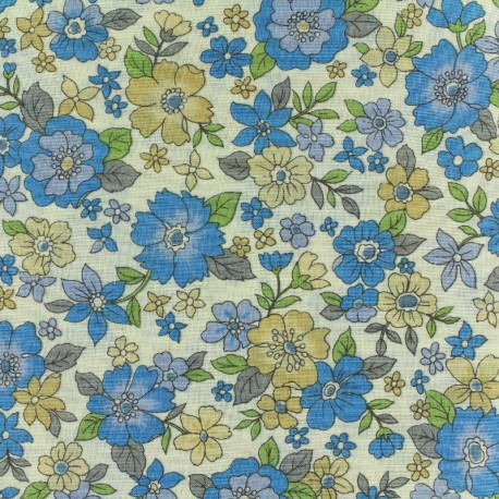 Tissu voile de coton Froufrou Les Grands Bouquets - bleu x10cm