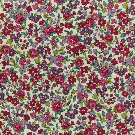 Tissu voile de coton Froufrou Les Petits Bouquets - grenat x10cm