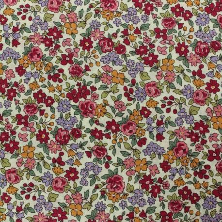 Tissu voile de coton Froufrou Les Petits Bouquets - bordeaux x10cm