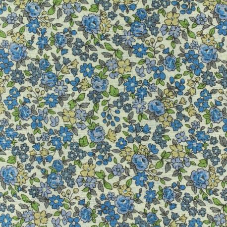 Tissu voile de coton Froufrou Les Petits Bouquets - bleu x10cm