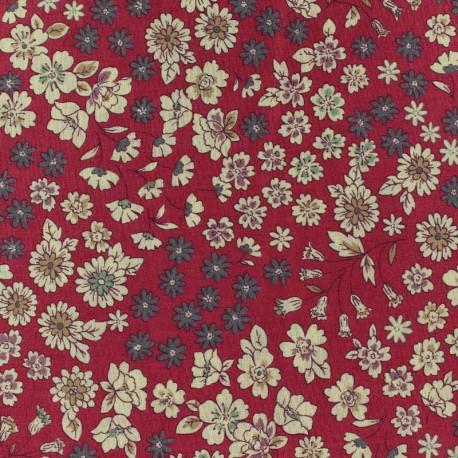 Tissu voile de coton Froufrou Les Fleuris - rouge x10cm