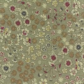 Tissu voile de coton Froufrou Les Fleuris - gris x10cm