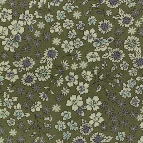 Tissu voile de coton Froufrou Les Fleuris - kaki x10cm