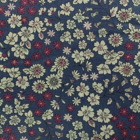 Tissu voile de coton Froufrou Les Fleuris - bleu x10cm