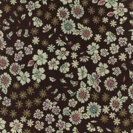 Tissu voile de coton Froufrou Les Fleuris - marron x10cm