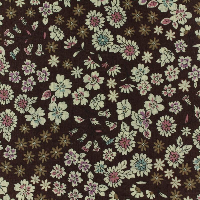 Tissu voile de coton froufrou les fleuris marron x10cm - Voile de forcage au metre ...