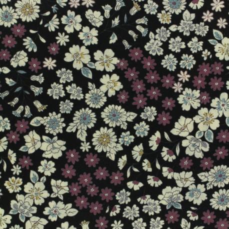 Tissu voile de coton Froufrou Les Fleuris - noir x10cm