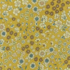 Tissu voile de coton Froufrou Les Fleuris - moutarde x10cm