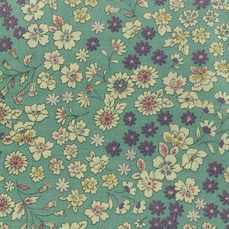 Tissu voile de coton Froufrou Les Fleuris - vert x10cm