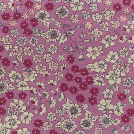 Tissu voile de coton Froufrou Les Fleuris - violet x10cm