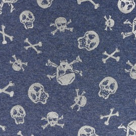 Tissu  sweat léger Scary skeletons - gris/jean x 10cm
