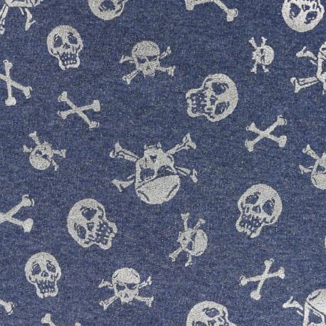 Scary skeleton light sweat fabric - grey/denim x 10cm