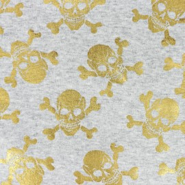 Scary skeleton Sweat with minkee reverse side fabric - grey/gold x 10cm
