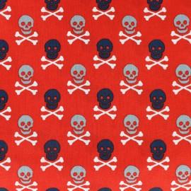 Tissu coton imprimé Scary skeletons - rouge x 10cm