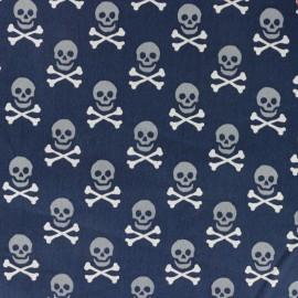 Tissu coton imprimé Scary skeletons - bleu x 10cm