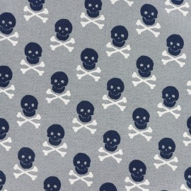 Tissu coton imprimé Scary skeletons - gris x 10cm