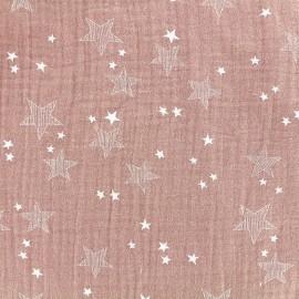 Tissu double gaze de coton Stars - vieux rose x 10cm