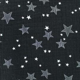 Tissu double gaze de coton Stars - noir x 10cm