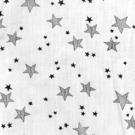 Tissu double gaze de coton Stars - blanc x 10cm
