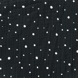 Tissu double gaze de coton Dots - noir x 10cm
