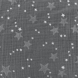Tissu double gaze de coton Stars - gris x 10cm