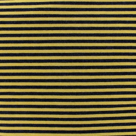 Tissu jersey viscose Rayures - ocre/noir x 10cm