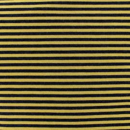 Viscose jersey fabric Rayures - ochre/black x 10cm