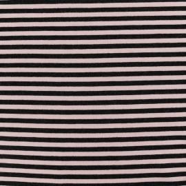 Tissu jersey viscose Rayures - vieux rose/noir x 10cm