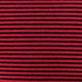 Tissu jersey viscose Rayures - bordeaux/noir x 10cm